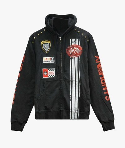 Толстовка The Saints Sinphony EMBROIDERED RACER FRENCH TERRY HOODED SWEATSHIRT BLACK