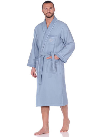 QUATTRO КУАТТРО серо-голубой вафельно-махровый халат  Maison Dor Турция