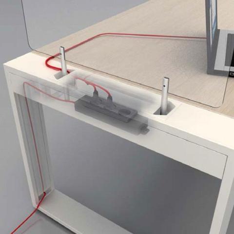Опора для рабочей станции крайняя (металл) с кабель-каналом LOGIC