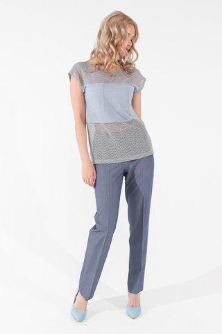 Фото однотонная серо-голубая блуза с полупрозрачным верхом и накладными карманами - Блуза Г705-480 (1)