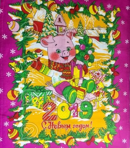 Полотенце кухонное вафельное новогоднее 2019 Свинка (цвет: малиновый)
