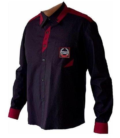 Сорочка модельная длинный рукав с бордовой отделкой