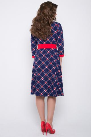 """<p>Чудесное платье - отличный вариант на каждый день! Контрастная отделка придаст """"изюминку"""" Вашему образу. Отрезное по талии, рукав 3/4, юбка клёш с карманами. Выбор кокетливых модниц!</p>"""