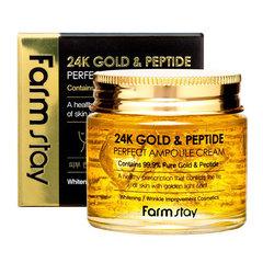 FarmStay 24K Gold & Peptide Perfect Ampoule Cream - Антивозрастной крем для лица с частичками золота и пептидами