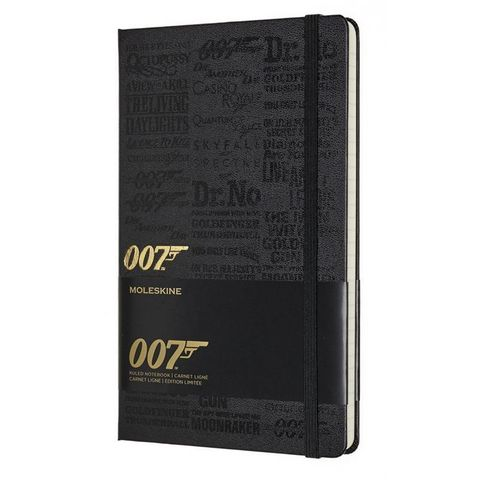 Блокнот Moleskine LIMITED EDITION JAMES BOND LEJBQP060B Large 130х210мм 240стр. линейка черный Titles