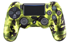 Чехол для геймпада DualShock 4 (камуфляж салатово-зелёно-черный перламутровый, накладки + наклейка)