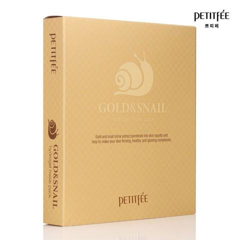 Гидрогелевая маска для лица с золотом и улиткой PETITFEE GOLD & SNAIL HYDROGEL MASK PACK 1 шт