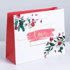 Пакет ламинированный горизонтальный «Любовь дарит счастье», MS 23 × 18 × 8 см