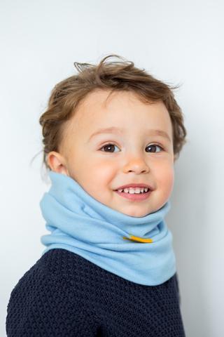 детский снуд-горловинка из хлопка гладкий небесный