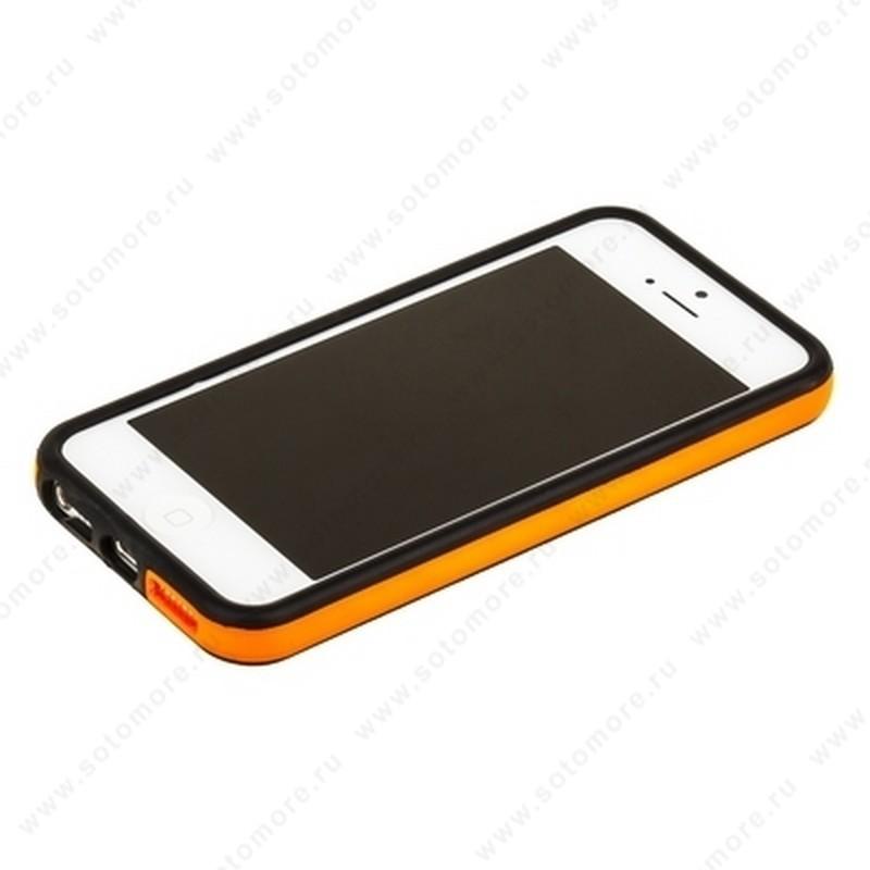 Бампер для iPhone SE/ 5s/ 5C/ 5 черный с оранжевой полосой