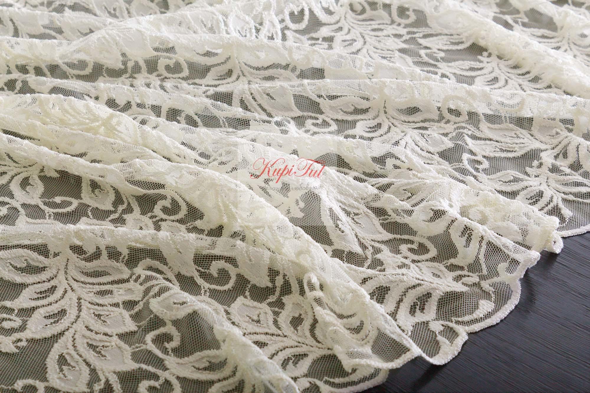 XL-Комплект гипюр+вуаль Мелани-T (кремовый)