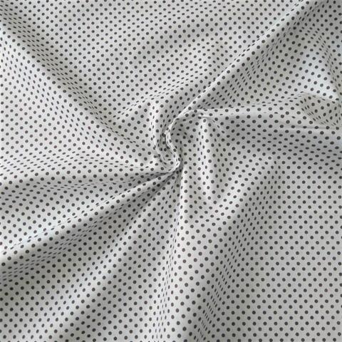 Ткань хлопковая темно-коричневые горошки на белом