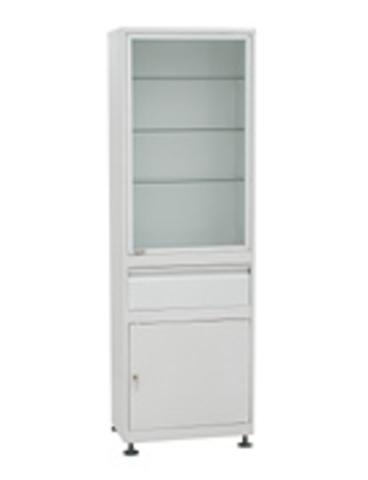 Медицинский шкаф(ШМС-1-А-Р-1) ШМС-1 в ал. раме с рег. опорами с в. ящиком - фото