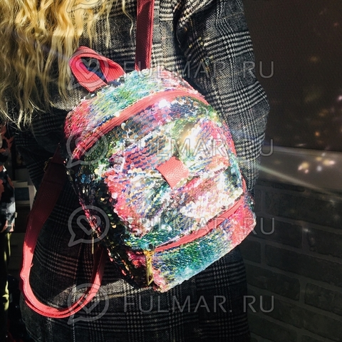 Рюкзак с пайетками и Бантом меняет цвет Радужный-Серебристый