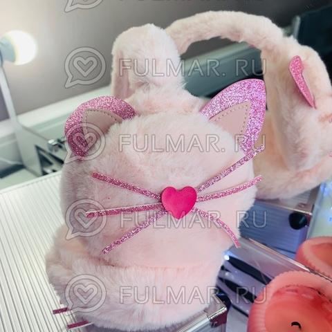 Ободок на уши Плюшевый с блёстками Киса-Любимка (цвет: Зефирный розовый)