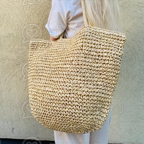Большая сумка-шопер соломенная плетёная на молнии летняя женская (цвет: бежевый)