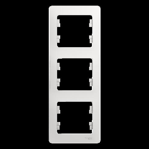 Рамка на 3 поста, вертикальная. Цвет Белый. Schneider Electric Glossa. GSL000107