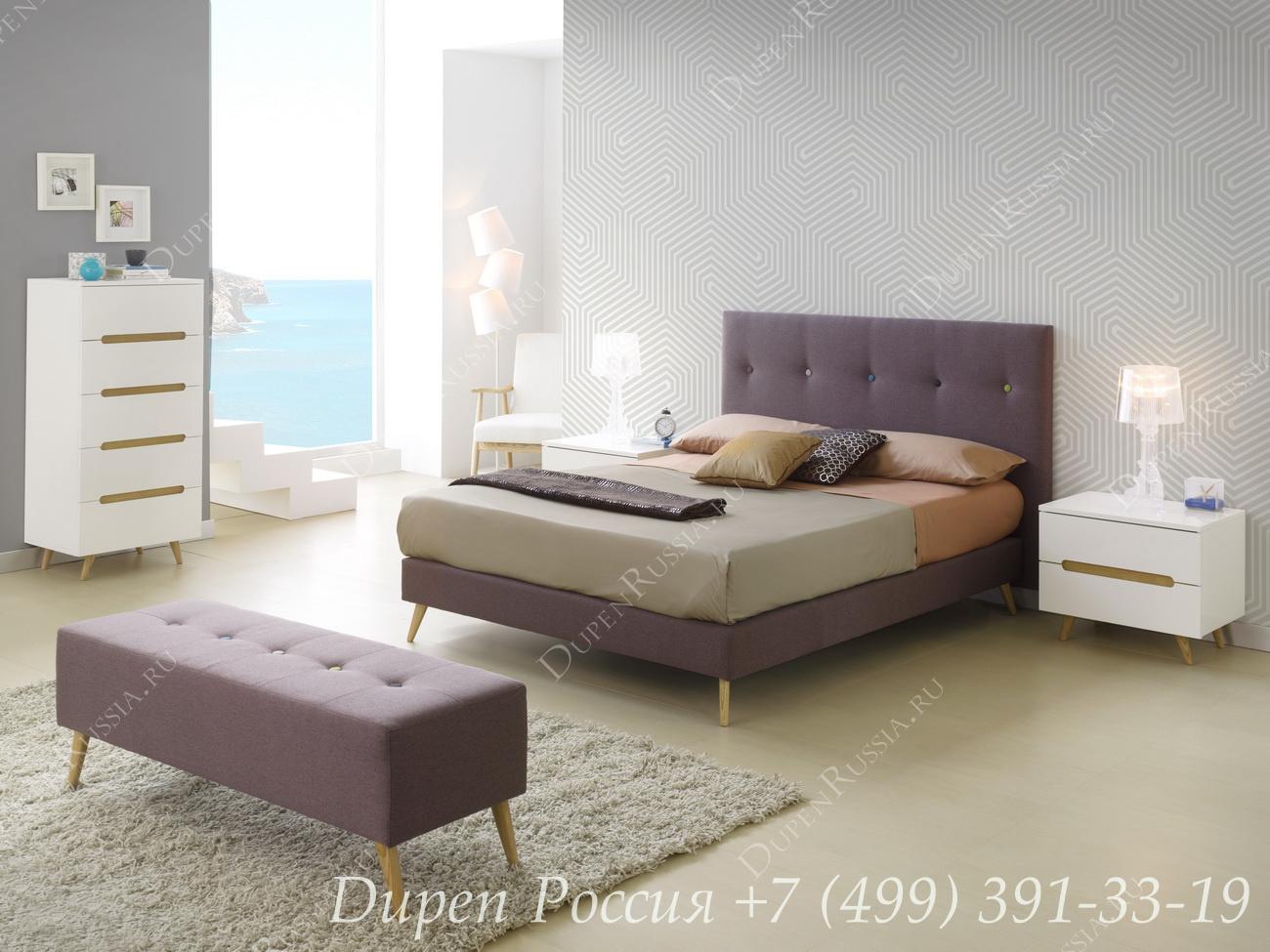 Кровать 891 LENA, комод DUPEN S-125 белый, тумбочка DUPEN M-125 белая, Банкетка DUPEN В-20