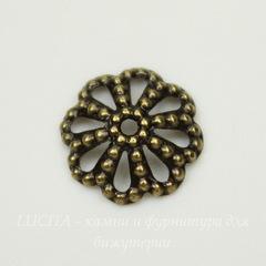Винтажный декоративный элемент - шапочка 9х2 мм (оксид латуни)