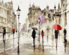 Картина раскраска по номерам 40x50 Дождливый город