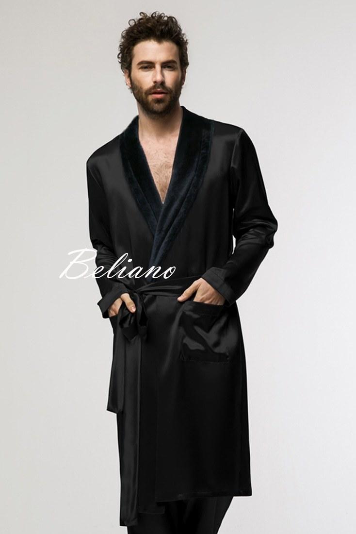 Черный мужской махрово-шелковый халат короткий или длинный купить в Beliano