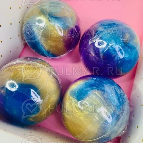 Оригинальный набор Лизунов в шаре сине-фиолетовые золотистые 4 штуки