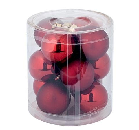 Набор шаров 12шт. в тубе (стекло), D4см, цветовая гамма: тёмно-красная