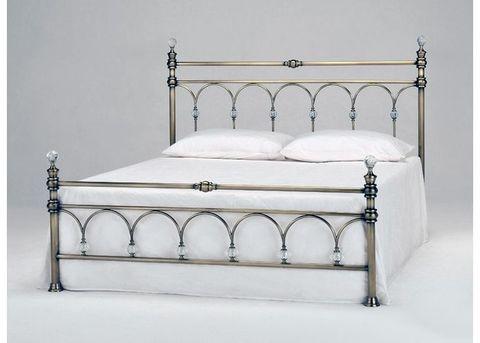 Кровать 9801 L двуспальная металлическая с кристаллами 1600х2000 МиК античная бронза