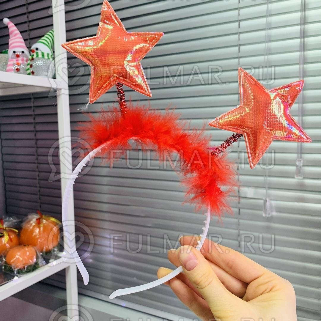 Карнавальный ободок на голову новогодний Звёздочки на пружинках цвет: коралловый фото