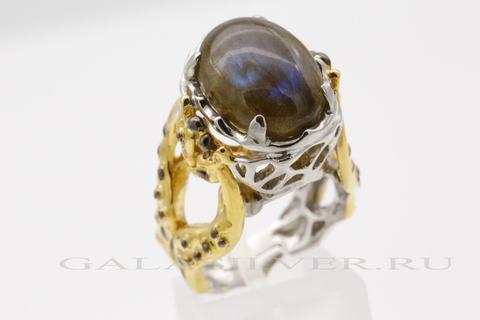 Кольцо с лабрадоритом из серебра 925