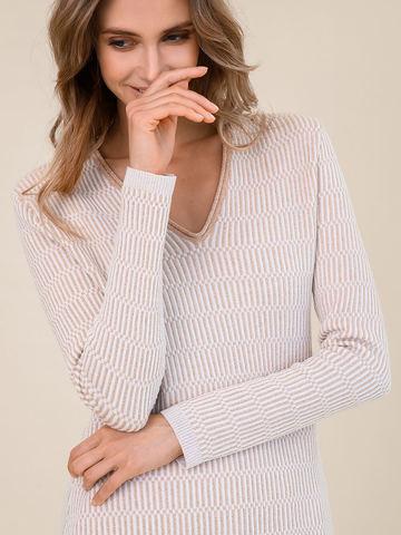 Женский джемпер молочного цвета из шерсти и вискозы - фото 3