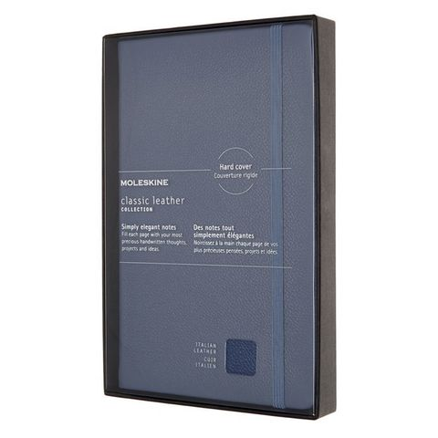 Блокнот Moleskine LIMITED EDITION LEATHER LCLH31HB41BOX Large 130х210мм натур. кожа 192стр. линейка твердая обложка синий