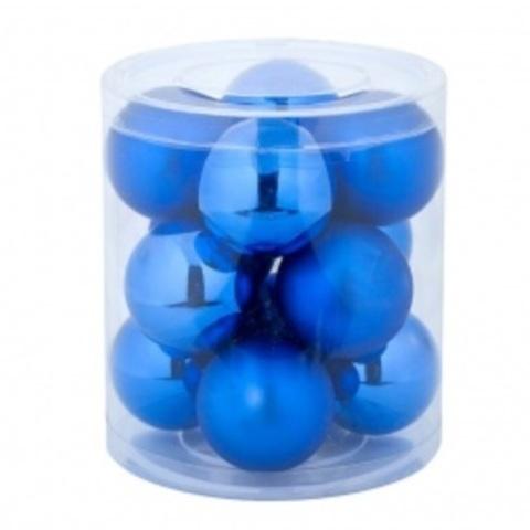Набор шаров 12шт. в тубе (стекло), D4см, цветовая гамма: синяя