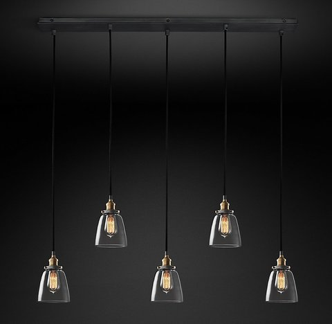 Подвесной светильник копия 20th C. Factory Filament Clear Glass Cloche Rectangular Pendant by Restoration Hardware
