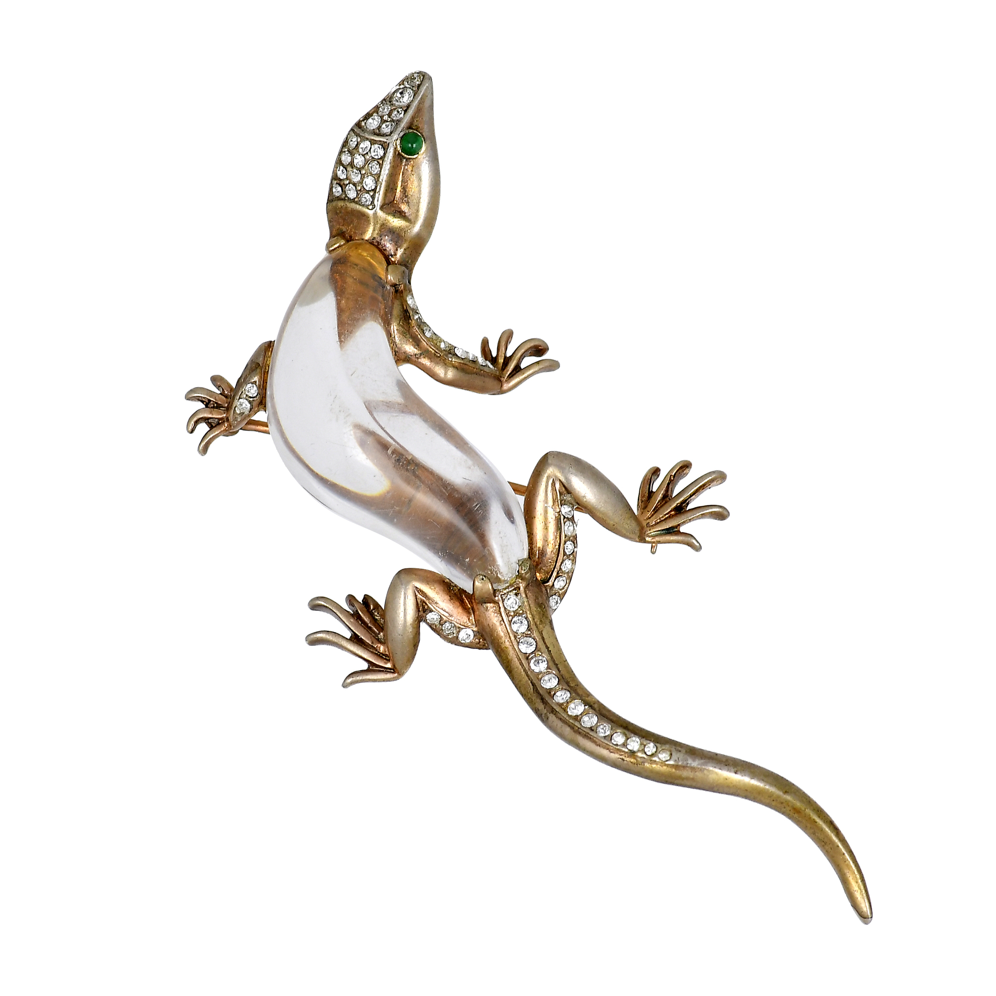 """Trifari gold-plated sterling brooch """"Lizard"""" dated 1944"""