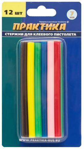Клей для клеевого пистолета ПРАКТИКА цветные, 6 цветов,  7 х 100 мм, 12шт / блистер (641-671)