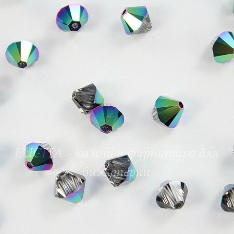 5328 Бусина - биконус Сваровски Crystal Scarabaeus Green 6 мм, 5 штук