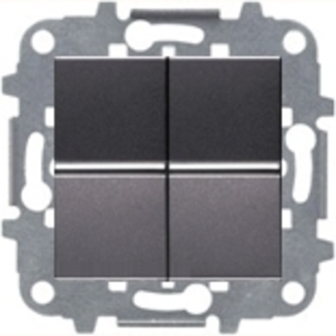 Переключатель промежуточный двухклавишный. Цвет Антрацит. ABB Niessen Zenit. N2110 AN+N2110 AN+N2271.9