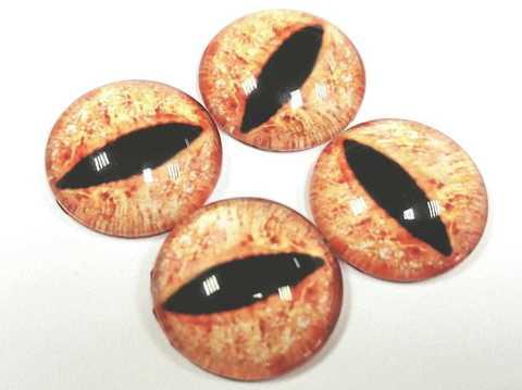 Глазки стеклянные,  16мм, красно-оранжевые, 1уп-4шт. (1032)