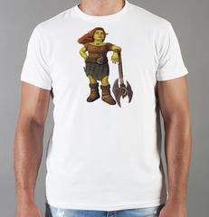 Футболка с принтом мультфильма Шрек (Shrek)  белая 0011