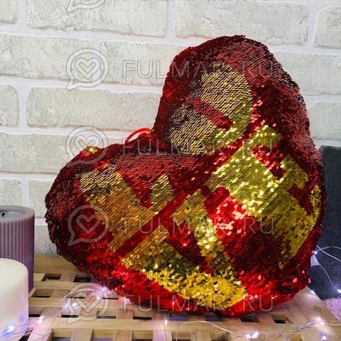Подушка-Сердце Валентинка с пайетками (37х30х12 см)