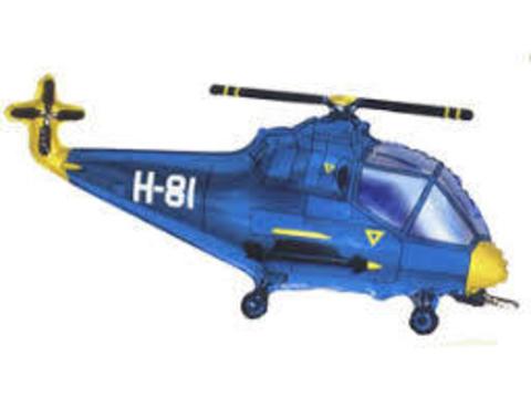 Фольгированный шар Вертолет синий