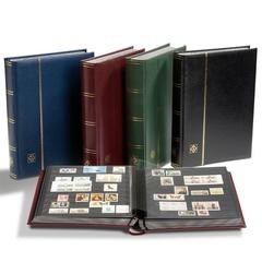 Кляссер для марок формата A4, 64 черные страницы, смягченная кожаная обложка, включая слипкейс, цвет синий