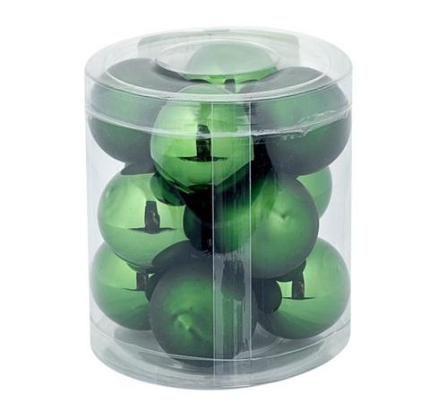 Набор шаров 12шт. в тубе (стекло), D4см, цветовая гамма: тёмно-зелёная