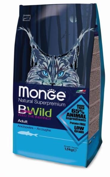 Купить Monge BWild Cat Anchovies корм для взрослых кошек с анчоусами 1.5 кг
