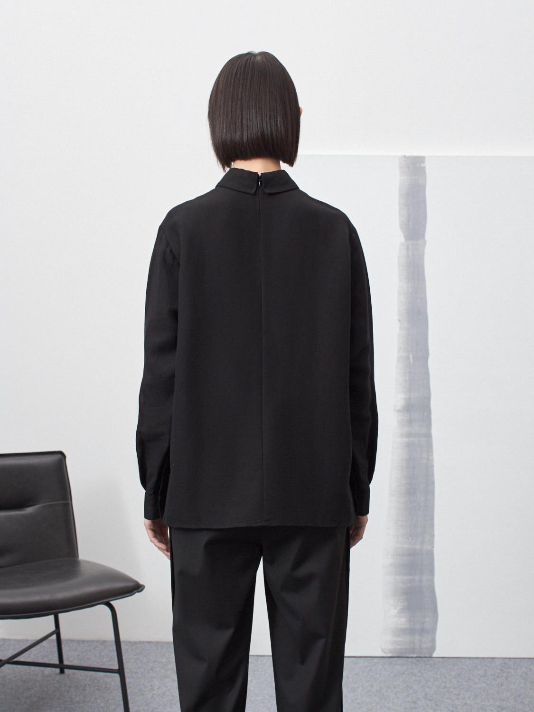 Рубашка Mona с планками по бокам, Черный