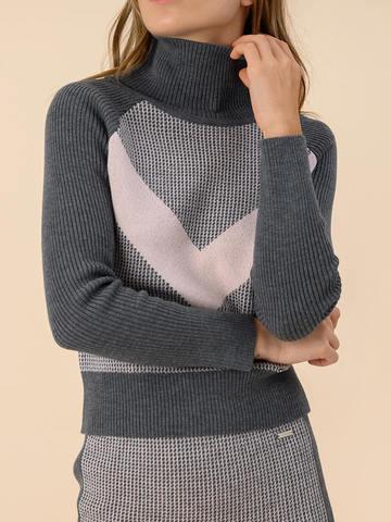 Женский свитер темно-серого цвета из 100% шерсти - фото 4