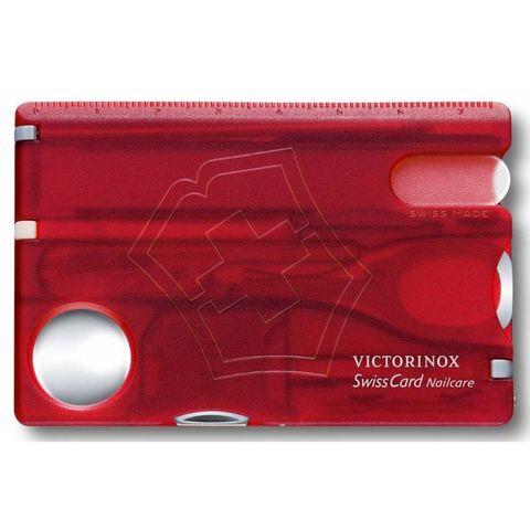 Швейцарская карта Victorinox SwissCard (0.7240.T) Nailcare 10 функций прозрачный красный
