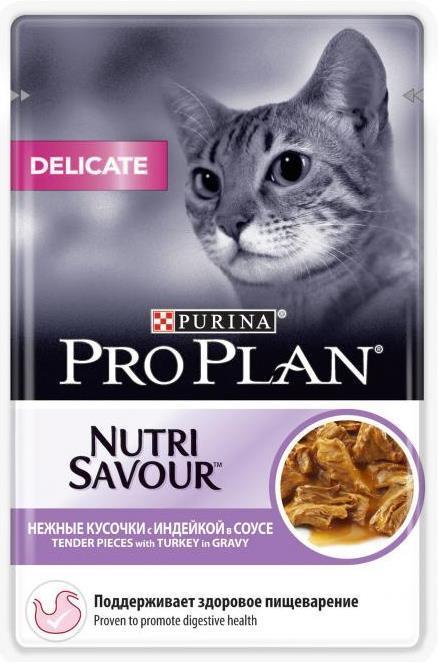 Влажные корма Пауч Purina Pro Plan DELICATE, для кошек с чувствительным пищеварением, с индейкой дел_инд.jpg