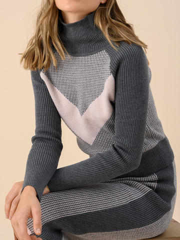 Женский свитер темно-серого цвета из 100% шерсти - фото 3